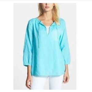 Eileen Fisher Boxy Linen Top in Light Blue Solid